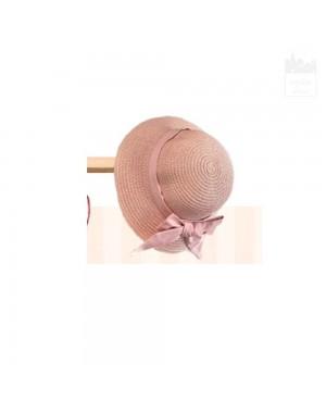 Gorro de rafia rosa empolvado con lazada