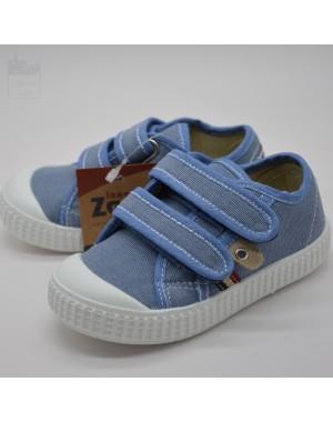 Zapatilla niño azul doble velcro