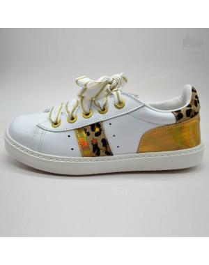 Zapatilla blanca-oro-animalprint