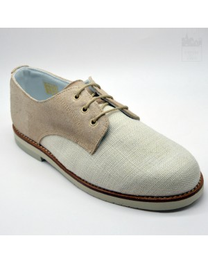 Zapato niño de vestir con lino beige
