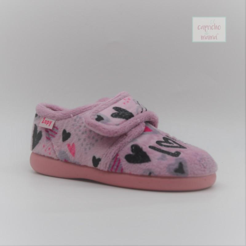 Zapatilla casa niña rosa LOVE